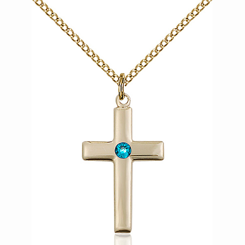 Gold Filled 7/8in Cross Pendant with 3mm Zircon Bead & 18in Chain