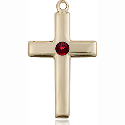 14kt Yellow Gold 7/8in Cross Pendant with 3mm Garnet Bead