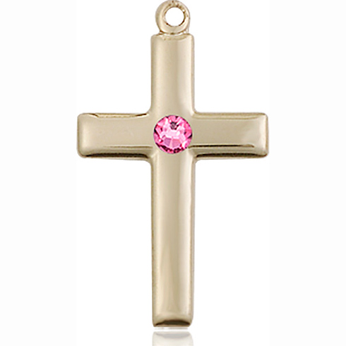 14kt Yellow Gold 7/8in Cross Pendant with 3mm Rose Bead