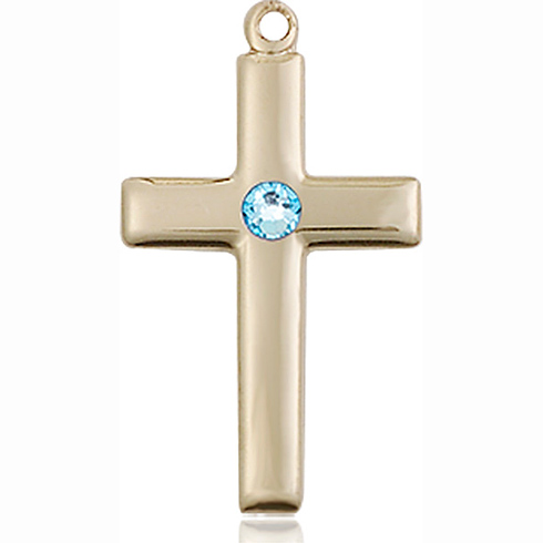 14kt Yellow Gold 7/8in Cross Pendant with 3mm Aqua Bead