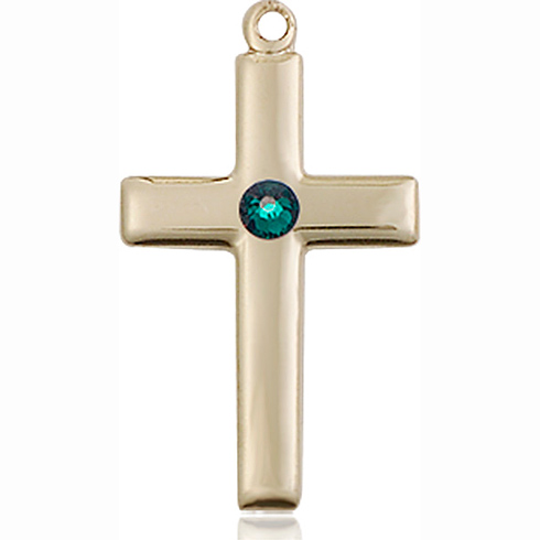 14kt Yellow Gold 7/8in Cross Pendant with 3mm Emerald Bead