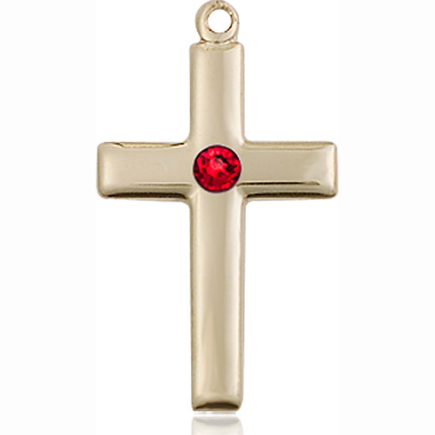 14kt Yellow Gold 7/8in Cross Pendant with 3mm Ruby Bead
