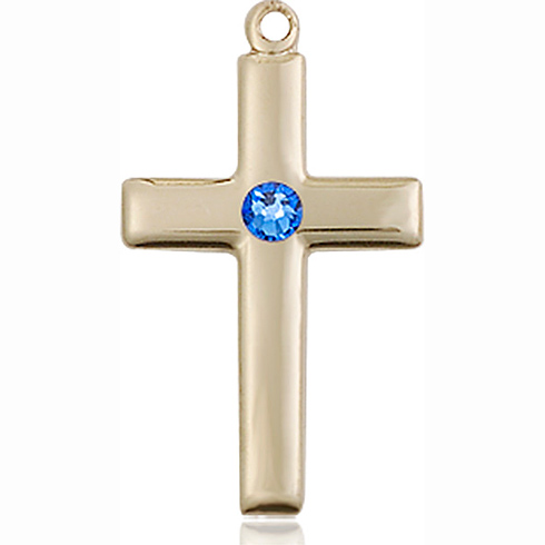 14kt Yellow Gold 7/8in Cross Pendant with 3mm Sapphire Bead
