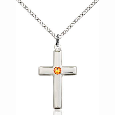 Sterling Silver 7/8in Cross Pendant with 3mm Topaz Bead & 18in Chain