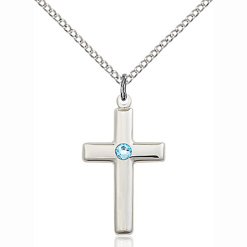 Sterling Silver 7/8in Cross Pendant with 3mm Aqua Bead & 18in Chain