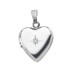 Sterling Silver 1/2in Diamond Heart Locket
