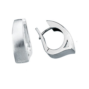 Sterling Silver 7/8in Brushed Hinged Earrings