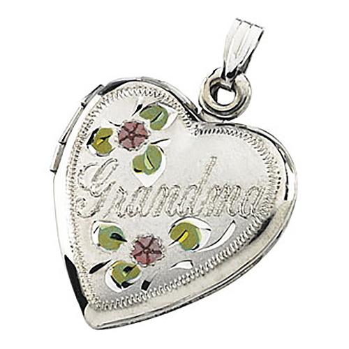 Sterling Silver 1in Tri-color Grandma Heart Locket