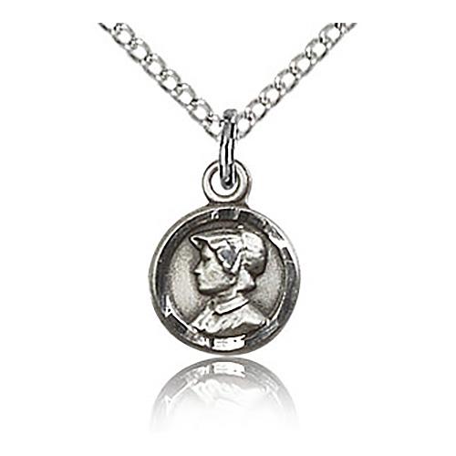 Sterling Silver 3/8in St Elizabeth Charm & 18in Chain