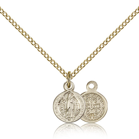 Gold Filled 3/8in St Benedict Charm & 18in Chain