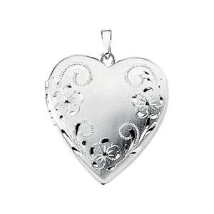 14kt White Gold 7/8in Fancy Floral Heart Locket