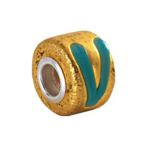 Kera Gold & Turquoise Murano Glass Wheel Bead