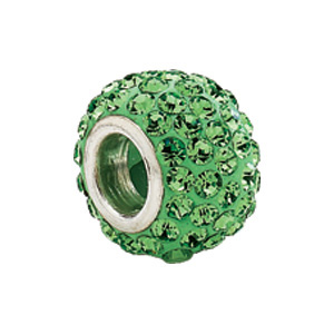 Kera Bead With Pavé Peridot Crystals