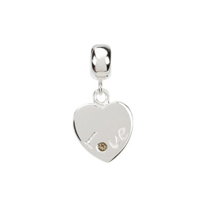 Kera Love Heart Dangle Bead with Crystal
