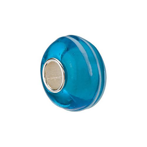 Kera Blue Stripe Glass Bead
