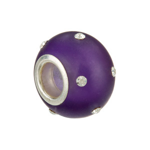Kera Glass Purple Bead With Crystal Accents