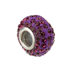 Kera Bead With Pavé Purple Crystals