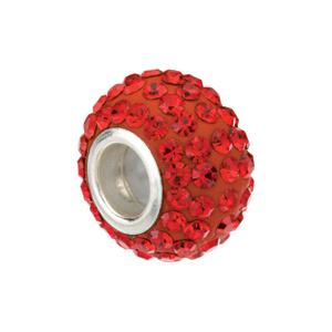 Kera Bead With Pavé Red Crystals