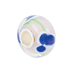 Kera Blue Flower Green Swirl Glass Bead