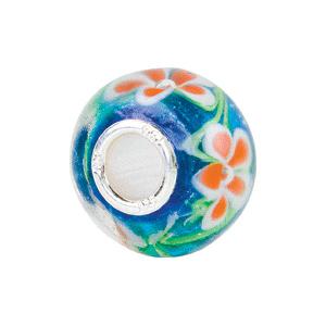 Kera Blue And Orange Flower Glass Bead