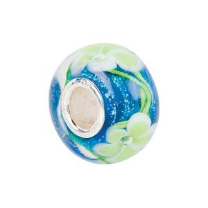 Kera Blue With Green Flower Glass Bead