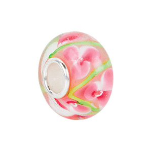 Kera Pink And Green Flower Glass Bead