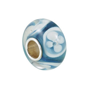 Kera Turquoise And White Flower Glass Bead