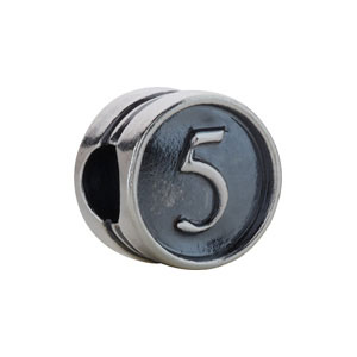 Kera Numeral 5 Cylinder Bead