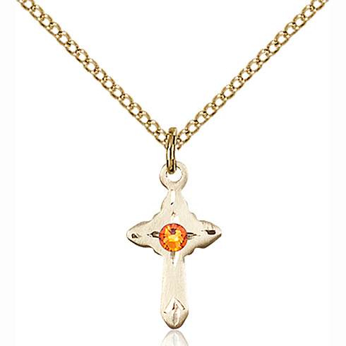 Gold Filled 5/8in Cross Pendant with 3mm Topaz Bead & 18in Chain