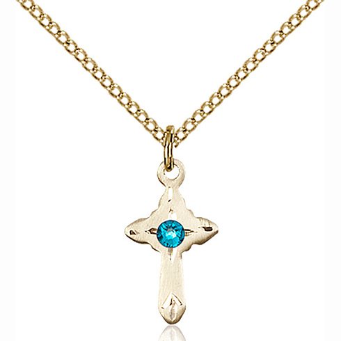 Gold Filled 5/8in Cross Pendant with 3mm Zircon Bead & 18in Chain
