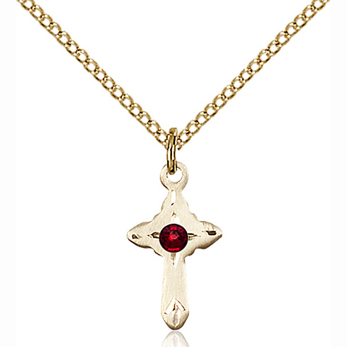 Gold Filled 5/8in Cross Pendant with 3mm Garnet Bead & 18in Chain