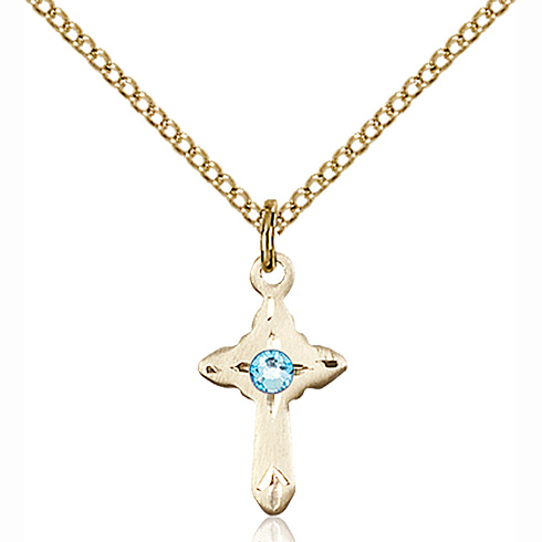 Gold Filled 5/8in Cross Pendant with 3mm Aqua Bead & 18in Chain