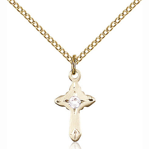 Gold Filled 5/8in Cross Pendant with 3mm Crystal Bead & 18in Chain