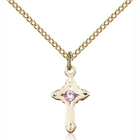 Gold Filled 5/8in Cross Pendant with Light Amethyst Bead & 18in Chain