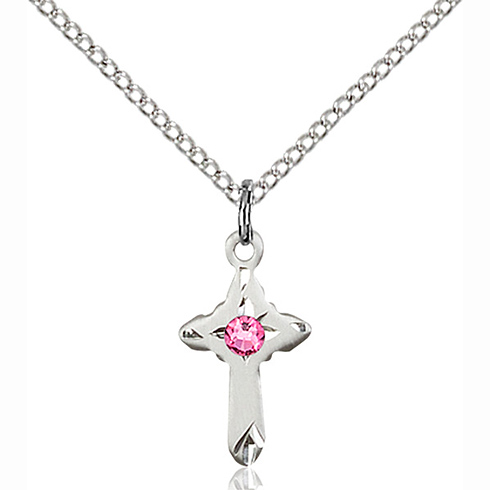 Sterling Silver 5/8in Cross Pendant with 3mm Rose Bead & 18in Chain
