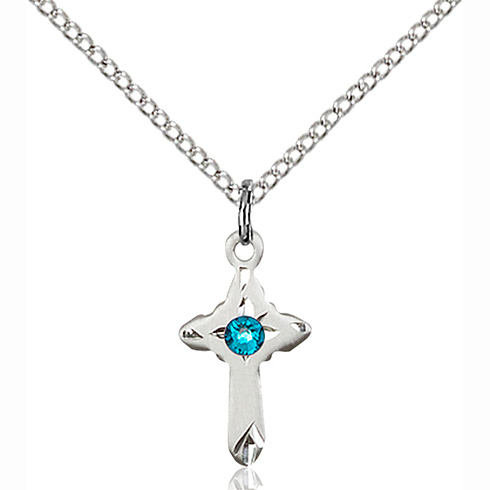 Sterling Silver 5/8in Cross Pendant with 3mm Zircon Bead & 18in Chain