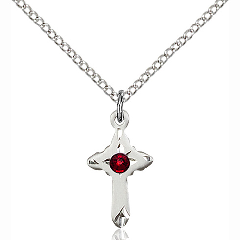 Sterling Silver 5/8in Cross Pendant with 3mm Garnet Bead & 18in Chain