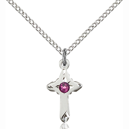 Sterling Silver 5/8in Cross Pendant with 3mm Amethyst Bead & 18in Chain