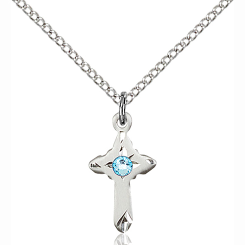 Sterling Silver 5/8in Cross Pendant with 3mm Aqua Bead & 18in Chain