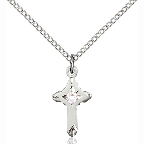 Sterling Silver 5/8in Cross Pendant with 3mm Crystal Bead & 18in Chain