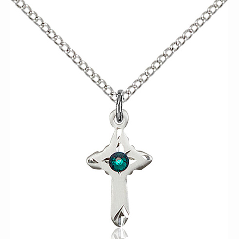 Sterling Silver 5/8in Cross Pendant with 3mm Emerald Bead & 18in Chain