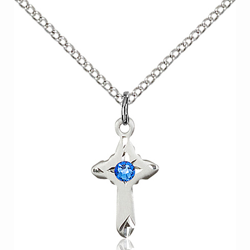 Sterling Silver 5/8in Cross Pendant with Sapphire Bead & 18in Chain
