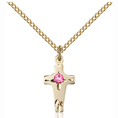 Gold Filled 5/8in Cross Pendant with 3mm Rose Bead & 18in Chain