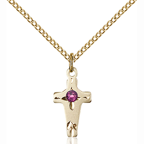 Gold Filled 5/8in Cross Pendant with 3mm Amethyst Bead & 18in Chain