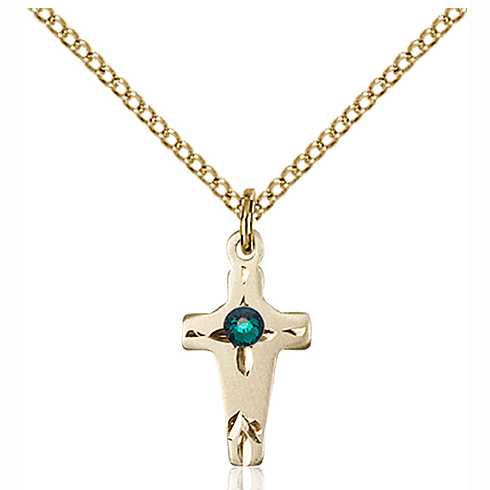 Gold Filled 5/8in Cross Pendant with 3mm Emerald Bead & 18in Chain