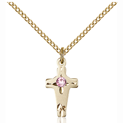 Gold Filled 5/8in Cross Pendant with 3mm Light Amethyst Bead & 18in Chain