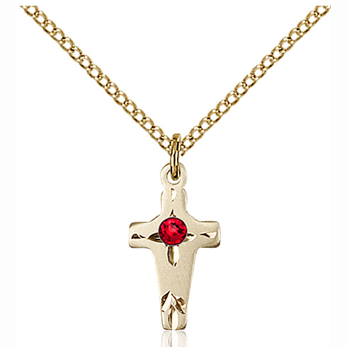 Gold Filled 5/8in Cross Pendant with 3mm Ruby Bead & 18in Chain
