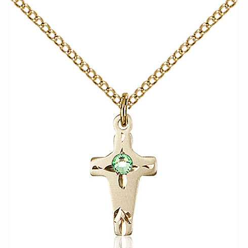 Gold Filled 5/8in Cross Pendant with 3mm Peridot Bead & 18in Chain