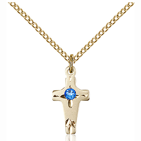 Gold Filled 5/8in Cross Pendant with 3mm Sapphire Bead & 18in Chain