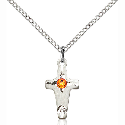 Sterling Silver 5/8in Cross Pendant with 3mm Topaz Bead & 18in Chain